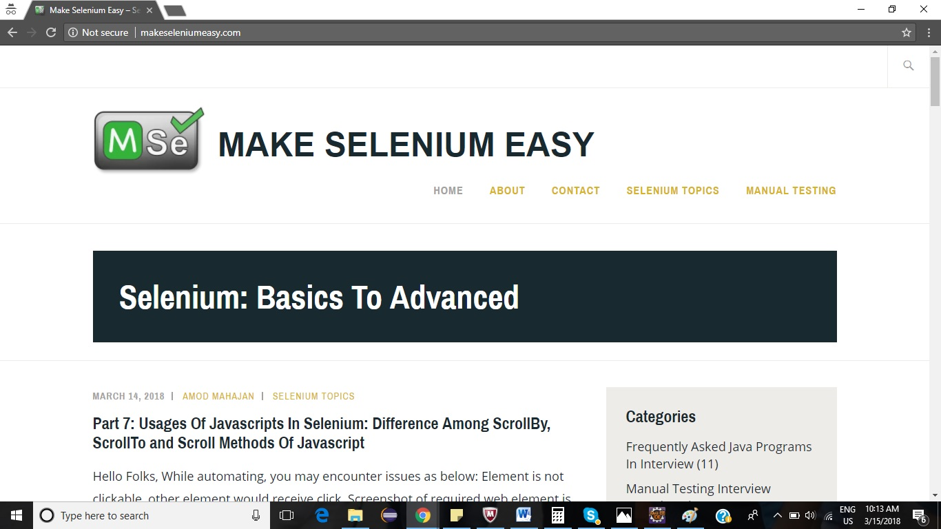Part 8: Usages Of Javascripts In Selenium: How To Scroll Web Page In